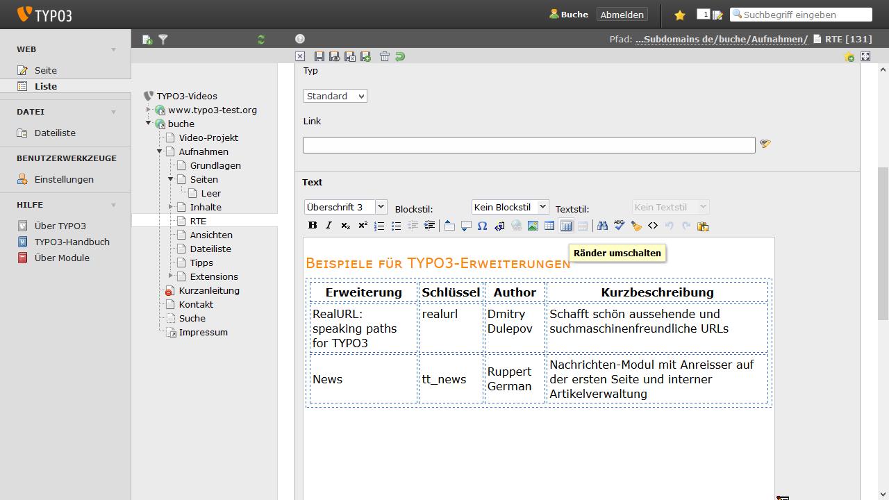 TYPO3-Hilfe - Über den TYPO3-Rich Text Editor Tabellen einfügen